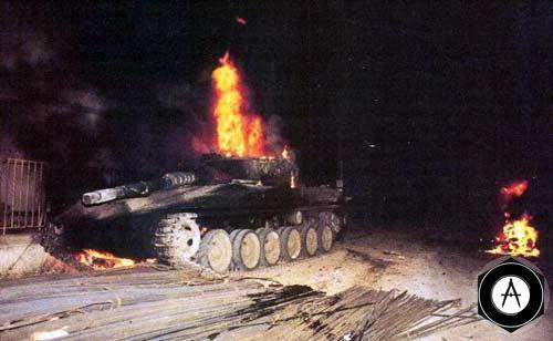 Танк Меркава подбитый из РПГ в Бейруте