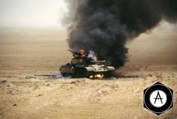 Горит иракский танк Т-55