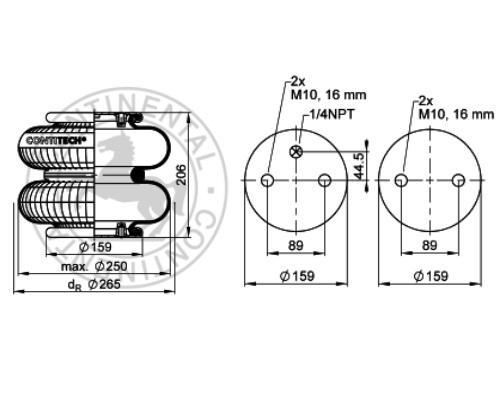 FD200191-4M10 Пневмоподушка двойной сильфон в сборе