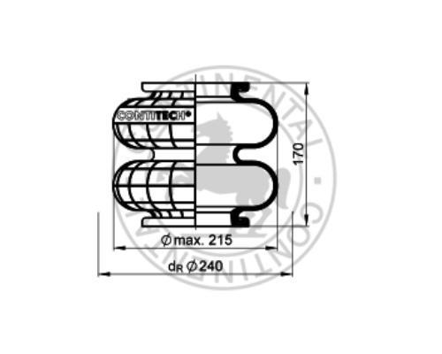 603N Пневмоподушка двойной сильфон без монтажных плат