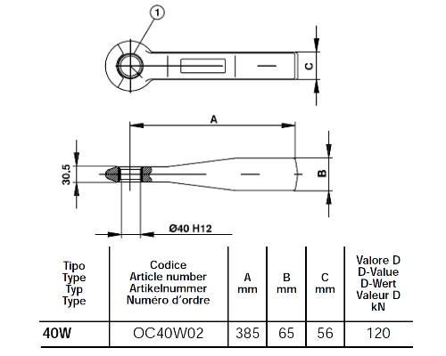 OC40W02 Петля вварная диаметр 40mm