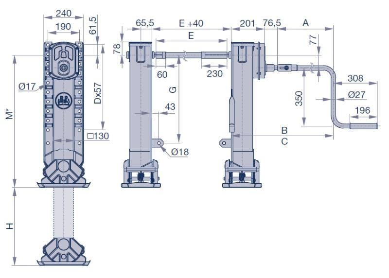 0237104200-4300 Опорное устройство прицепа M=850mm